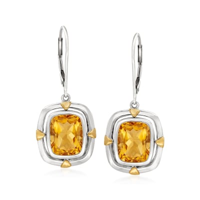 5.00 ct. t.w. Citrine Drop Earrings in Sterling Silver and 14kt Yellow Gold