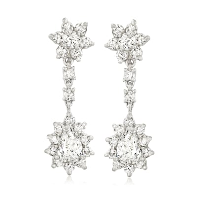C. 1980 Vintage 3.15 ct. t.w. Diamond Flower Drop Earrings in 14kt White Gold