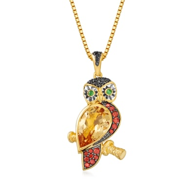 3.23 ct. t.w. Multi-Gemstone Owl Pendant Necklace in 18kt Gold Over Sterling