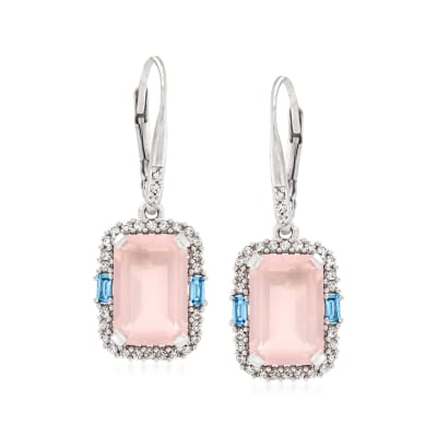 6.00 ct. t.w. Rose Quartz, .60 ct. t.w. White Zircon and .20 ct. t.w. Blue Topaz Drop Earrings in Sterling Silver