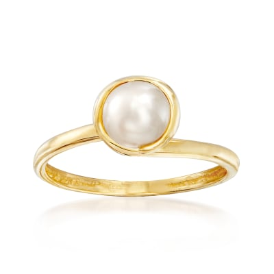 6mm Cultured Pearl Ring in 14kt Yellow Gold