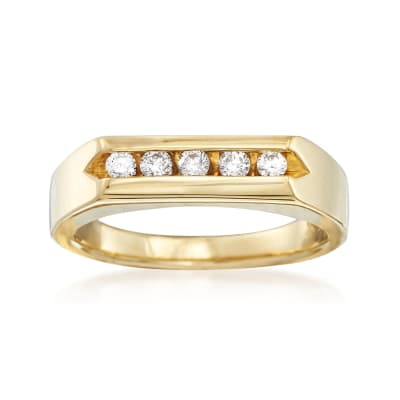Men's .25 ct. t.w. Channel-Set Diamond Ring in 14kt Yellow Gold