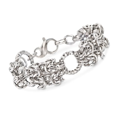 Italian Sterling Silver Byzantine and Textured Circle Bracelet