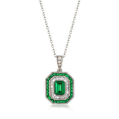 Simulated Emerald and .52 ct. t.w. CZ Pendant Necklace in Sterling Silver