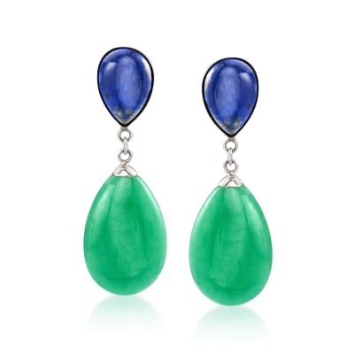 Jade and Lapis Drop Earrings in Sterling Silver