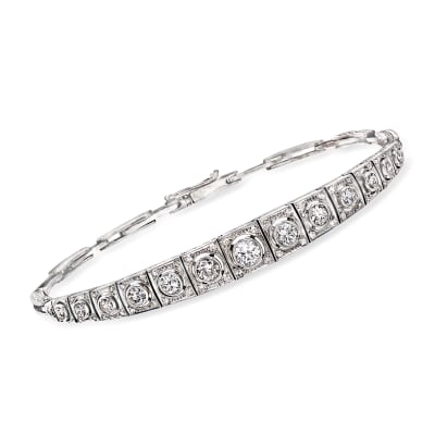 C. 1950 Vintage 1.65 ct. t.w. Diamond Line Bracelet in Platinum