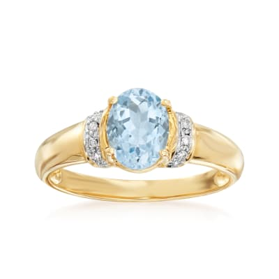 1.00 Carat Aquamarine Ring with Diamond Accents in 14kt Yellow Gold