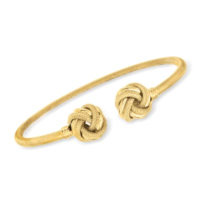 Italian 14kt Yellow Gold Love Knot Cuff Bracelet