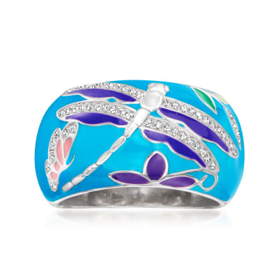 .15 ct. t.w. Diamond Dragonfly Ring with Multicolored Enamel in Sterling Silver