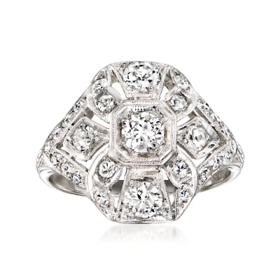 C. 1980 Vintage 1.00 ct. t.w. Diamond Cluster Ring in Platinum