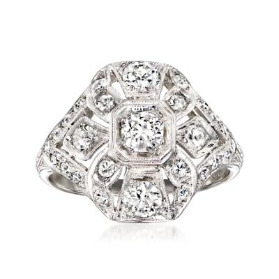 C. 1980 Vintage 1.00 ct. t.w. Diamond Cluster Ring in Platinum