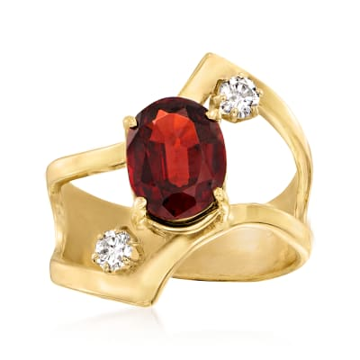 C. 1980 Vintage 2.20 Carat Garnet and .25 ct. t.w. Diamond Ring in 14kt Yellow Gold