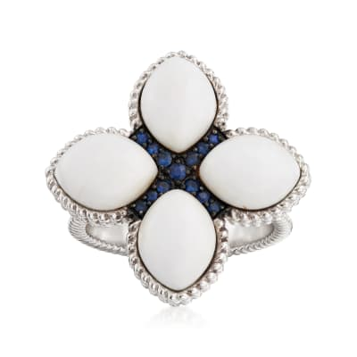 Magnesite and .20 ct. t.w. Sapphire Flower Ring in Sterling Silver