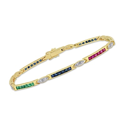 2.70 ct. t.w. Multi-Gemstone Tennis Bracelet with Diamond Accents in 14kt Yellow Gold