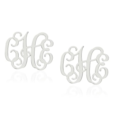 Sterling Silver Medium Laser Polished Monogram Post Earrings