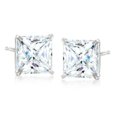 4.00 ct. t.w. Princess-Cut CZ Stud Earrings in Sterling Silver