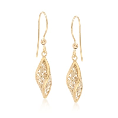 Italian 18kt Yellow Gold Floral Openwork Twist Earrings
