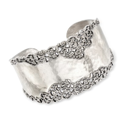 Sterling Silver Hammered and Polished Filigree Edge Wide Cuff Bangle Bracelet