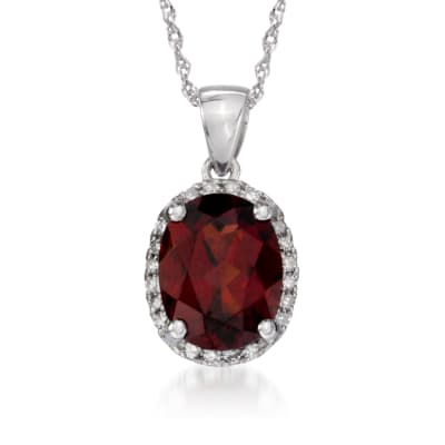 2.00 Carat Garnet Pendant Necklace with Diamonds in 14kt White Gold
