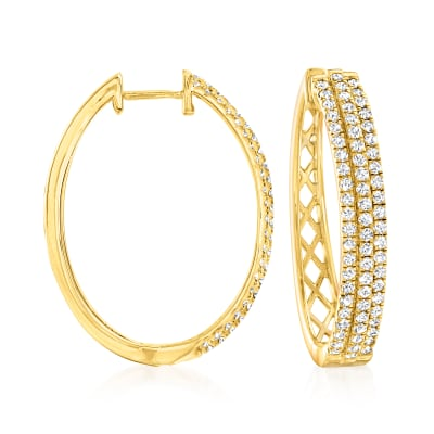 2.00 ct. t.w. Diamond Oval Hoop Earrings in 18kt Gold Over Sterling