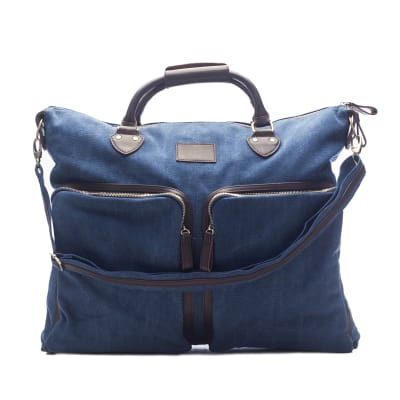 """Brouk & Co. """"Excursion"""" Blue Waxed Canvas Overnight Messenger Bag"""