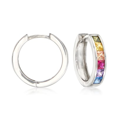 Multicolored Simulated Sapphire Huggie Hoop Earrings in Sterling Silver