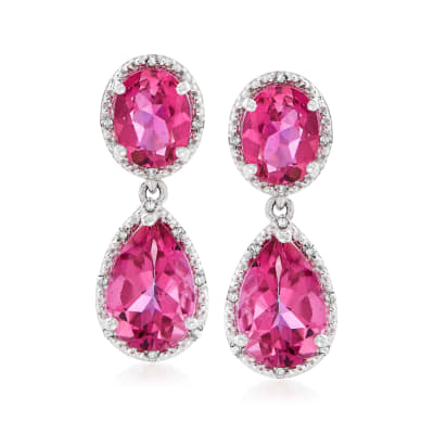 11.40 ct. t.w. Pink Topaz and .12 ct. t.w. Diamond Drop Earrings in Sterling Silver