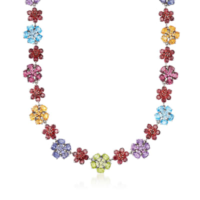 61.15 ct. t.w. Multi-Stone Floral Necklace in Sterling Silver