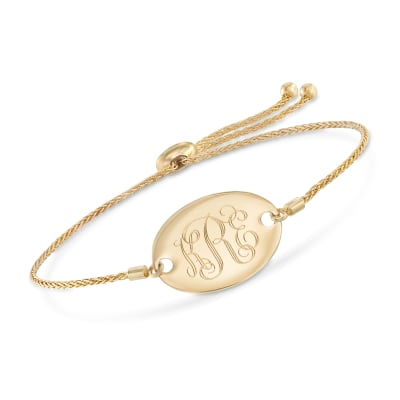 14kt Yellow Gold Personalized Oval Bolo Bracelet