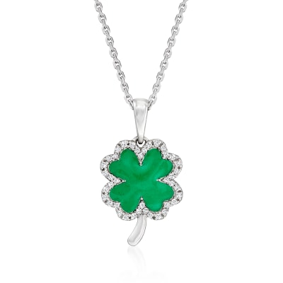 .10 ct. t.w. Diamond and Green Enamel Clover Pendant Necklace in Sterling Silver