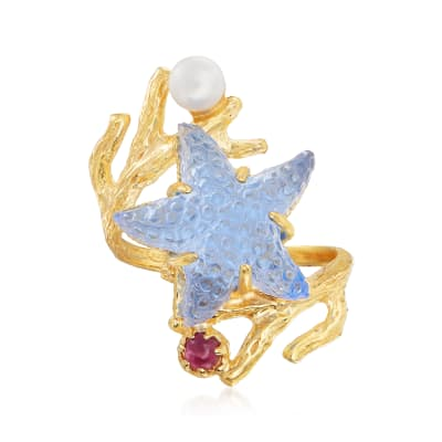 Tagliamonte Blue Venetian Glass Starfish Ring with .10 Carat Ruby and Cultured Pearl in 18kt Gold Over Sterling