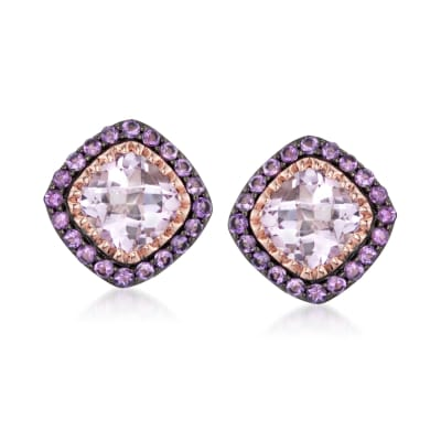 6.70 ct. t.w. Amethyst Earrings in 14kt Rose Gold Over Sterling