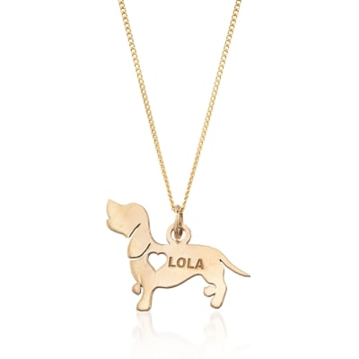 18kt Yellow Gold Over Sterling Silver Dachshund Name Pendant Necklace