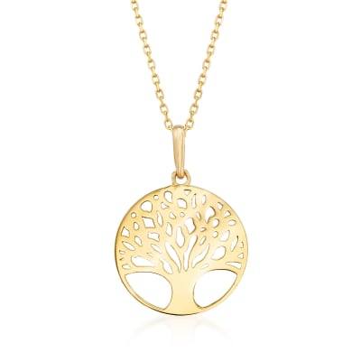 18kt Yellow Gold Tree of Life Pendant Necklace
