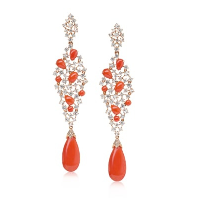 Coral and 4.37 ct. t.w. Diamond Drop Earrings in 18kt Rose Gold
