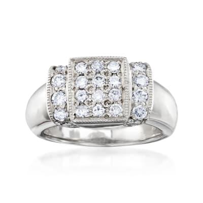 C. 1980 Vintage .80 ct. t.w. Diamond Rectangle Ring in Platinum