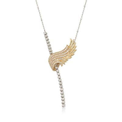 1.00 ct. t.w. Diamond Angel Wing Lariat Necklace in 14kt Two-Tone Gold