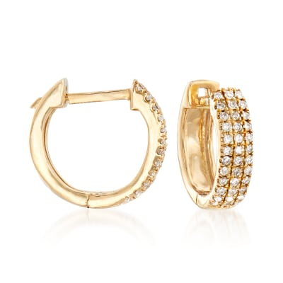.14 ct. t.w. Diamond Huggie Hoop Earrings in 14kt Yellow Gold