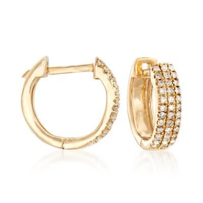 .14 ct. t.w. Diamond Huggie Hoop Earrings in 14kt Yellow Gold