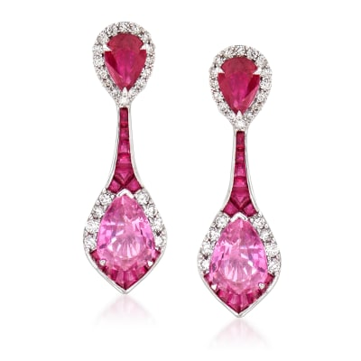 1.70 Carat Pink Sapphire and 2.50 ct. t.w. Ruby with .48 ct. t.w. Diamond Drop Earrings in 14kt White Gold