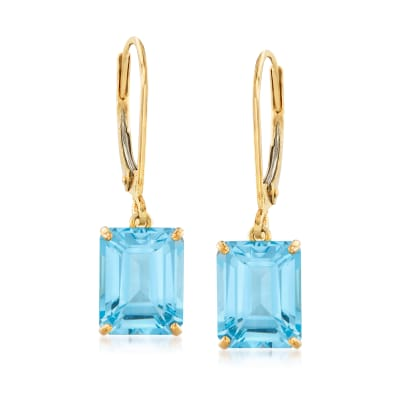 5.50 ct. t.w. Sky Blue Topaz Drop Earrings in 14kt Yellow Gold