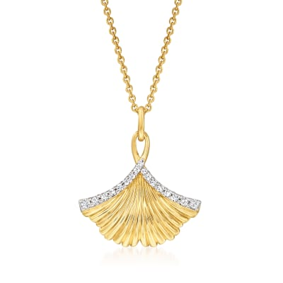 .15 ct. t.w. Diamond Ginko Leaf Pendant Necklace in 18kt Gold Over Sterling