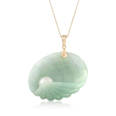 8mm Cultured Pearl and Green Jade Seashell Pendant Necklace in 14kt Yellow Gold