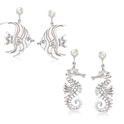 Italian Sterling Silver Jewelry Set: Two Pairs of Sea Life Drop Earrings