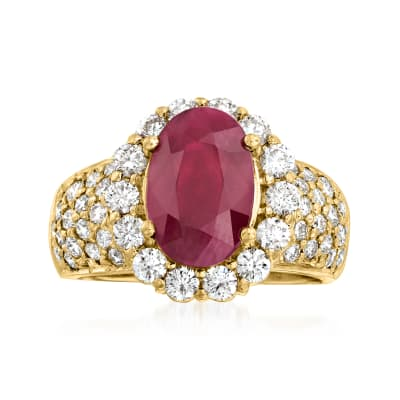 C. 2000 Vintage 4.00 Carat Ruby and 1.80 ct. t.w. Diamond Cocktail Ring in 18kt Yellow Gold