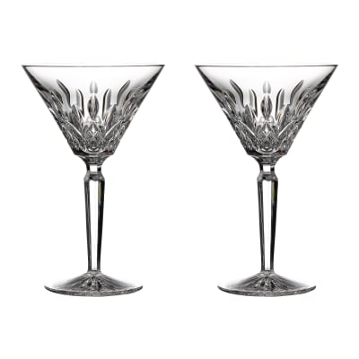 "Waterford Crystal ""Gift Bar"" Set of Two Lismore Martini Glasses"