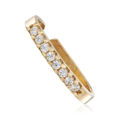 .15 ct. t.w. CZ Bar Single Ear Cuff in 14kt Yellow Gold