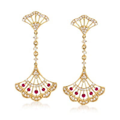 .50 ct. t.w. Diamond and .10 ct. t.w. Ruby Fan Drop Earrings in 14kt Yellow Gold