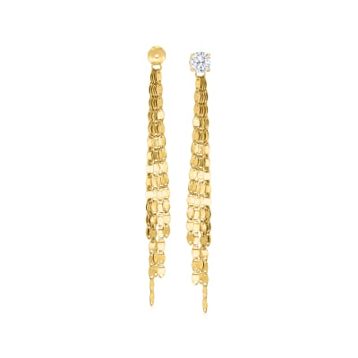 14kt Yellow Gold Mirror-Link Tassel Earring Jackets