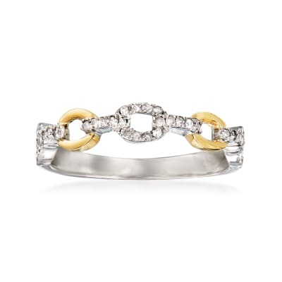 .20 ct. t.w. Diamond Paper Clip Link Ring in Sterling Silver and 14kt Yellow Gold